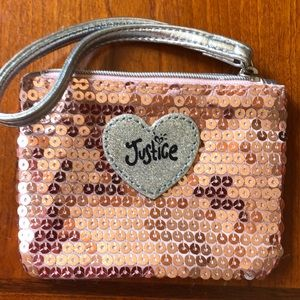 Justice pink sequin coin or card purse
